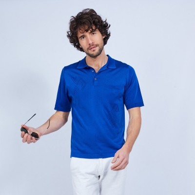 Patterned polo shirt in Fil Lumière - LIONEL