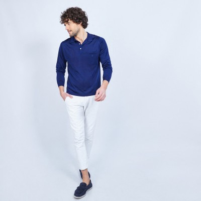 Long-sleeved patterned polo shirt in Fil Lumière - LAURENT