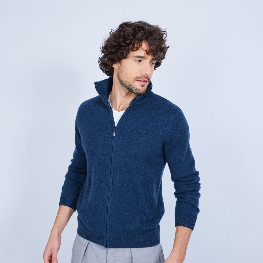 Cashmere zip up collar 4 threads with pockets Mathurin