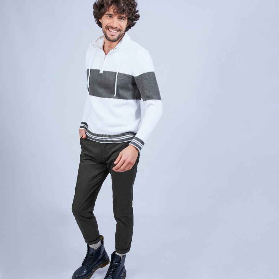 Pull col montant zippé - Loic 6504 blanc kaki - 02 Blanc