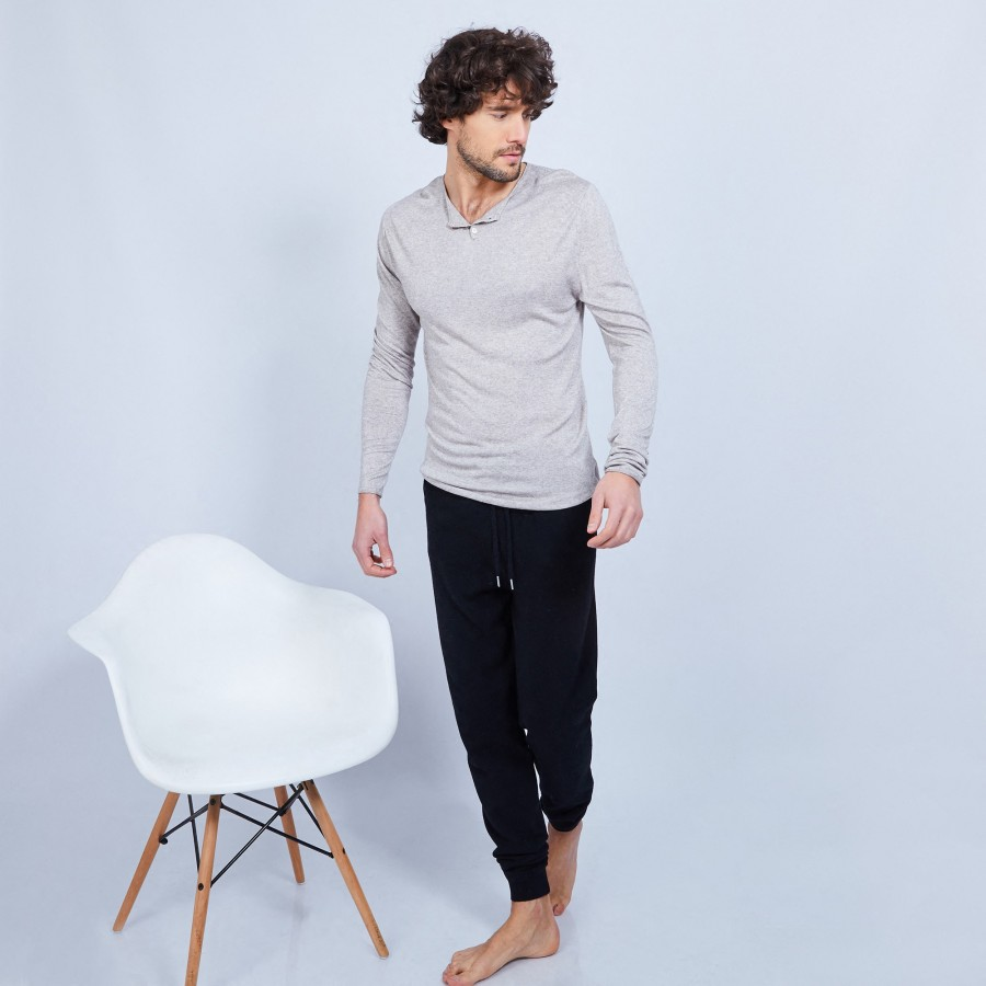 Bamboo and cashmere Henley jumper - Honura