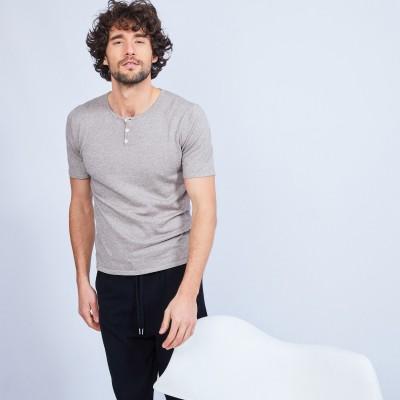 T-shirt col tunisien en coton cachemire - Haruni