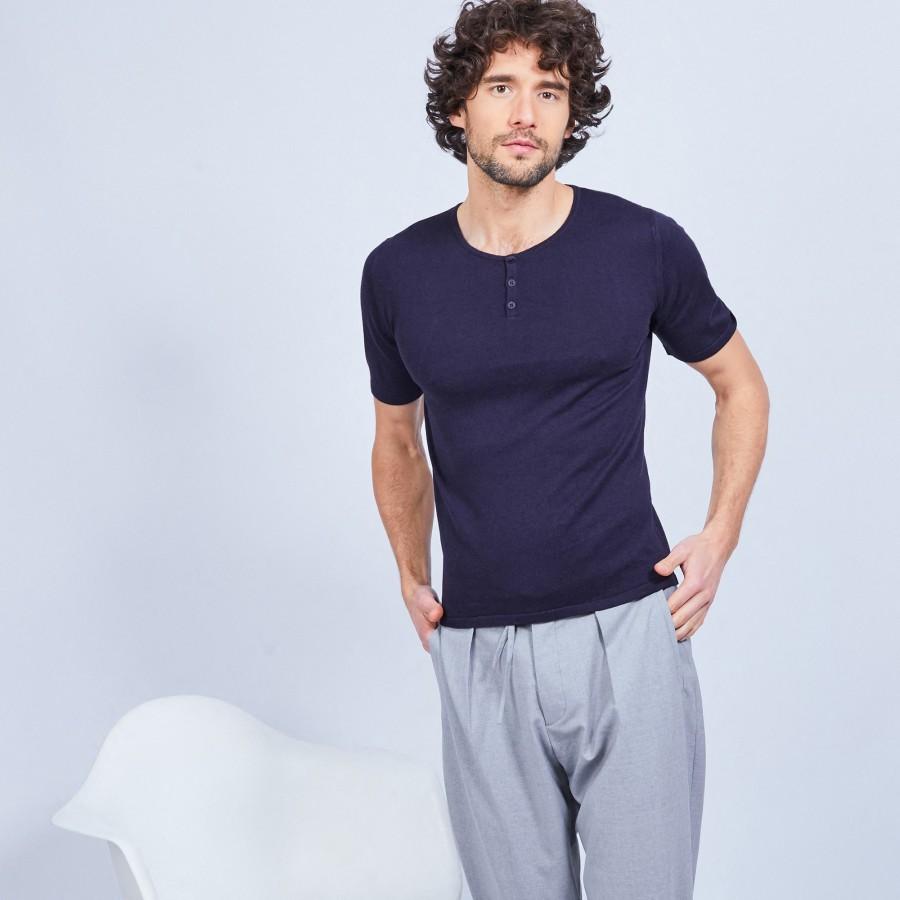 T-shirt col tunisien en coton cachemire - Harumi 6440 marine - 05 Bleu marine