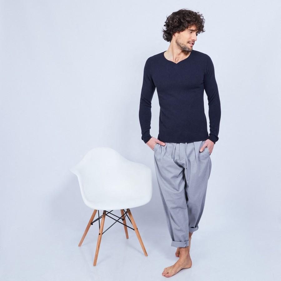 Cashmere jumper with grandad neckline - Henry