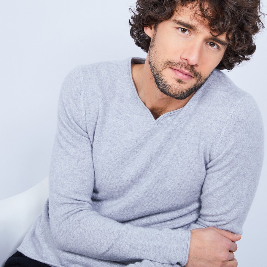 Pull col tunisien en cachemire - Henry 6350 glace - 11 Gris clair