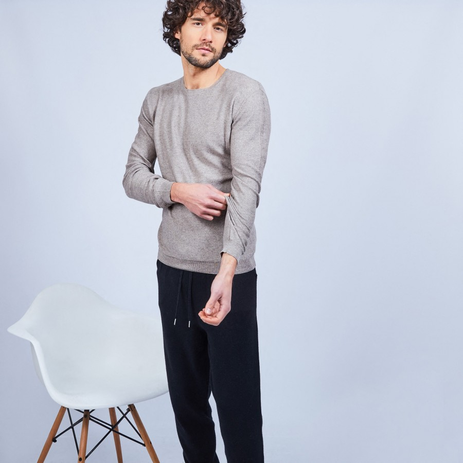 Cotton and cashmere crew neck jumper - Hizoka