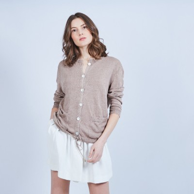 Button-up linen cardigan - MELLIA