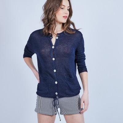 Button-up linen cardigan - MELLIA
