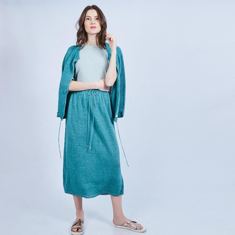 Jupe longue 100% lin - Maely 6450 tropique - 21 vert foncé