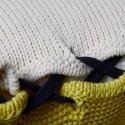 Coussin avec noeud en coton bio - Kansas 6591 blanc jaune - 02 Blanc