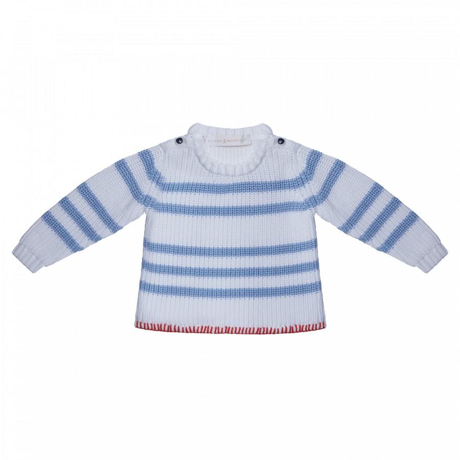 Pull pour bébé en coton - Kennedy 6559 blanc mistral - 02 Blanc