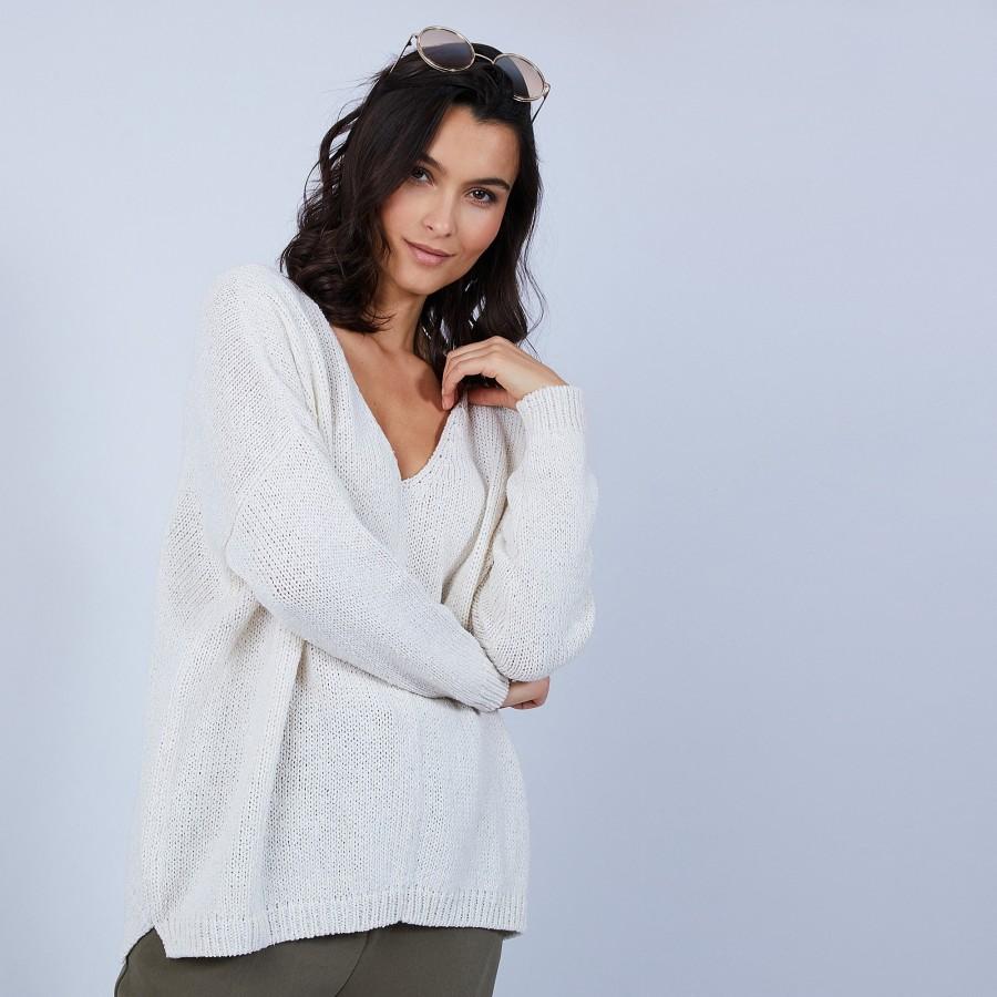 Pull ample col V en laine et soie - Baba 6600 blanc - 82 Ecru