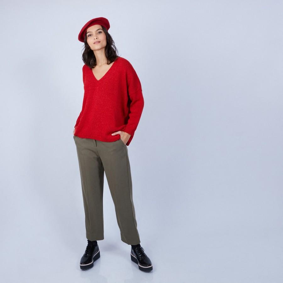 Pull ample col V en laine et soie - Baba 6680 ecarlate - 52 Rouge