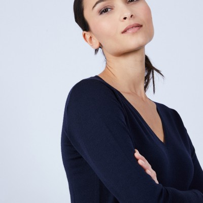 V-neck jumper in merino wool - Bahia