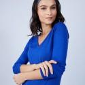 Pull col V en laine mérinos - Bahia 6644 iris - 48 Bleu roi