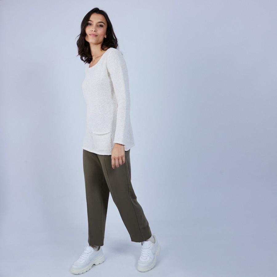 Pull en laine et soie poche avant - Bajira 6600 blanc - 82 Ecru