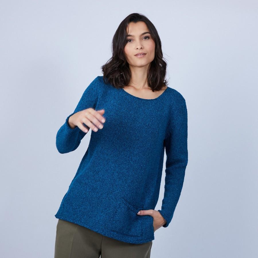 Pull en laine et soie poche avant - Bajira 6642 emeraude - 06 Bleu moyen