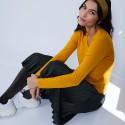 Pull col V avec fente en laine mérinos - Barbara
