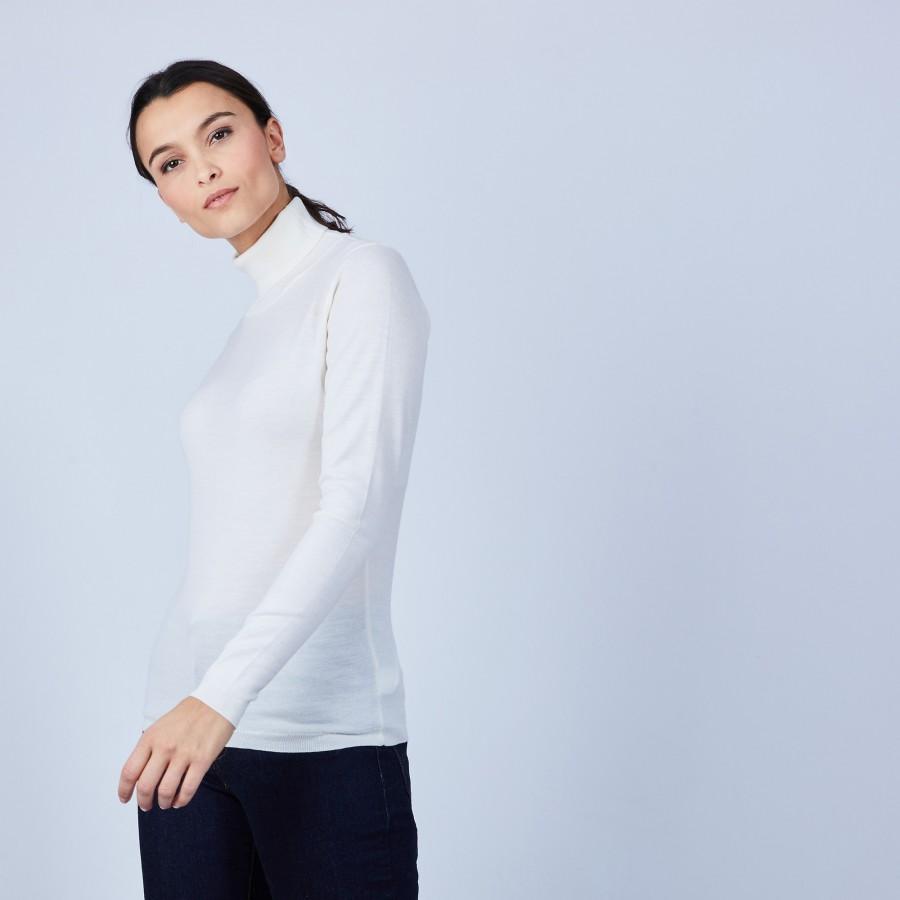Pull col roulé en laine mérinos - Bea 6600 blanc - 02 Blanc
