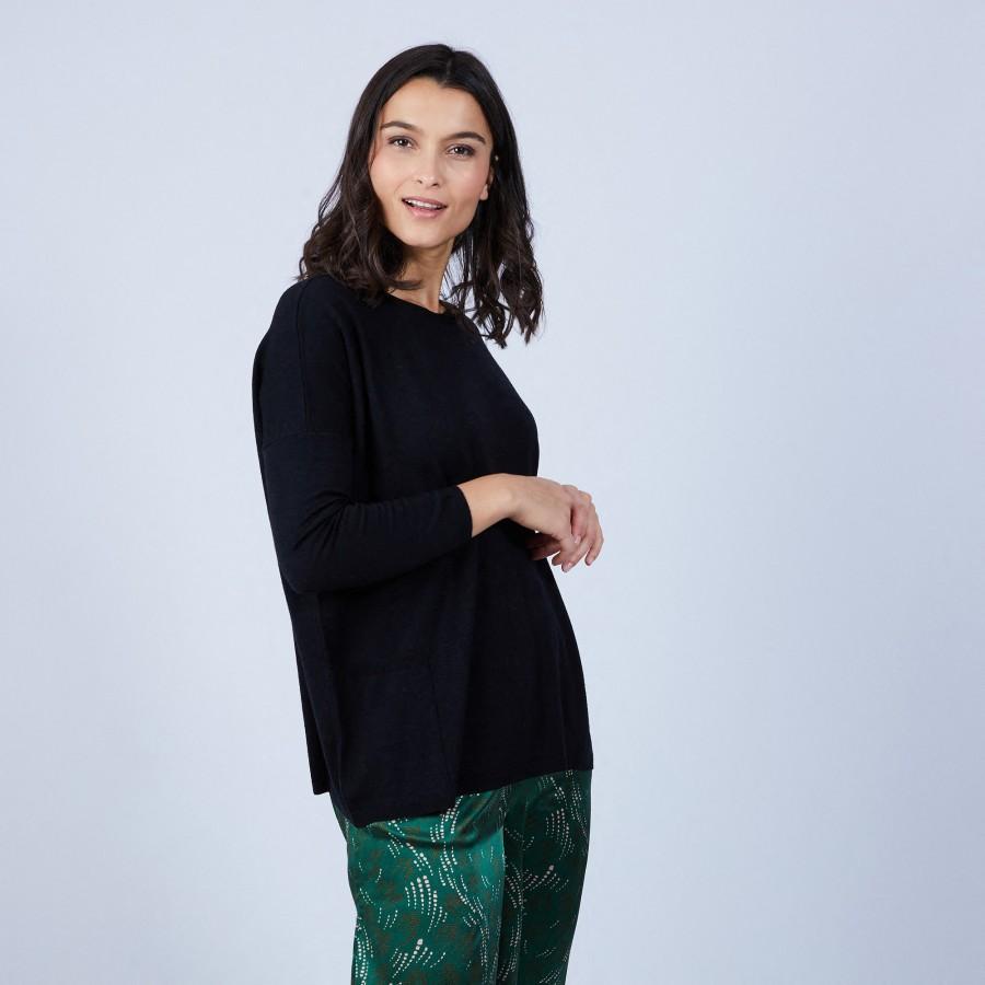 Pull ample à poches en laine mérinos - Beatrice