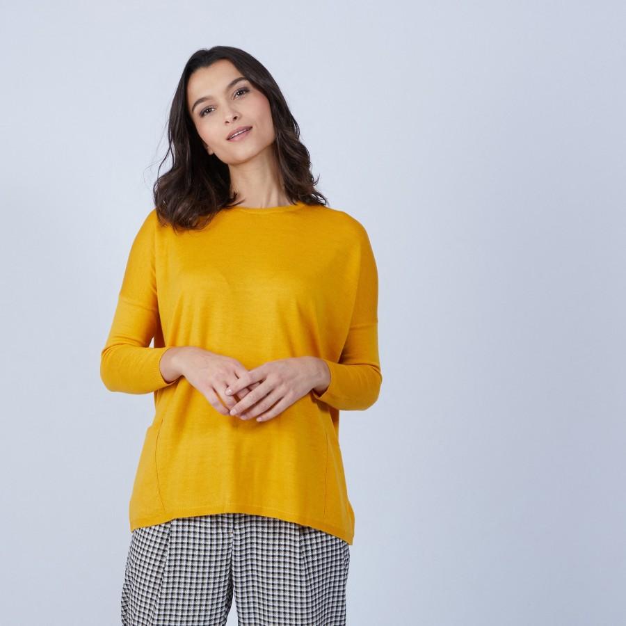 Pull ample à poches en laine mérinos - Beatrice 6660 cannelle - 89 Moutarde