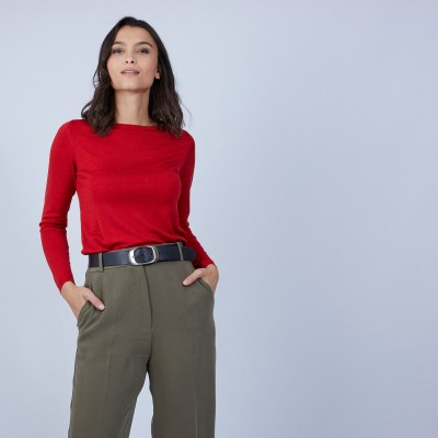 Boat-neck jumper in wool and silk - Bella