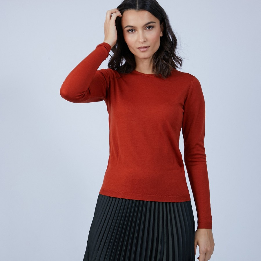Pull col rond en laine mérinos - Berenice 6682 tomette - 46 Marron clair