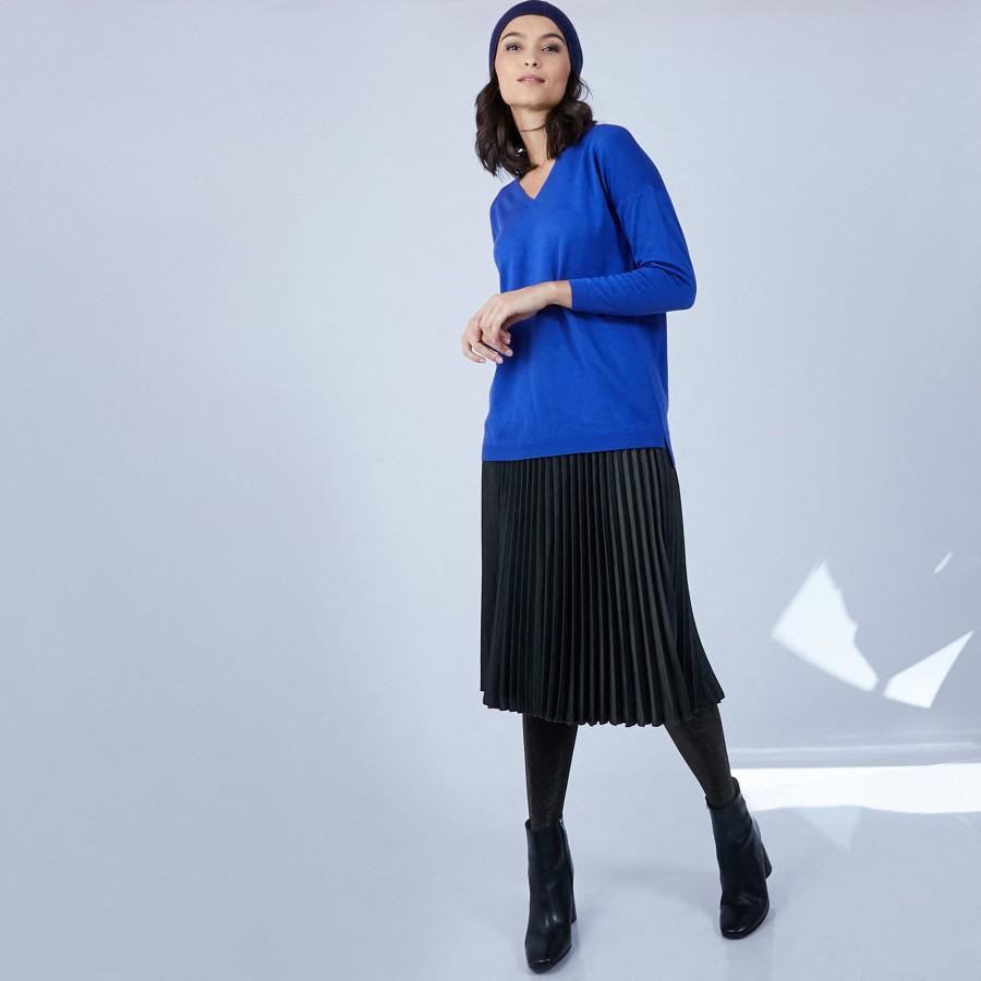 Pull col V en laine mérinos emmanchure droite - Bernice 6644 iris - 48 Bleu roi