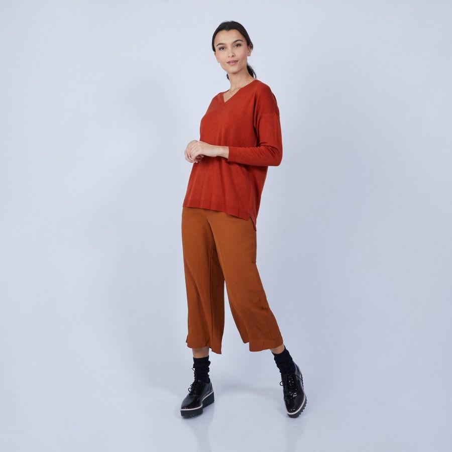 Pull col V en laine mérinos emmanchure droite - Bernice 6682 tomette - 46 Marron clair
