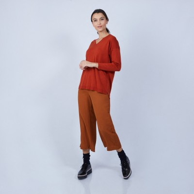 Pull col V avec fentes en laine mérinos - Bernice