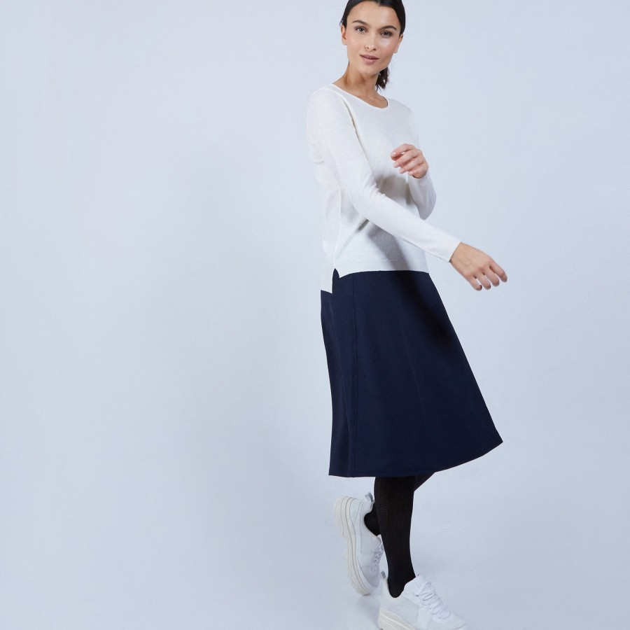 Pull col rond avec fentes en laine mérinos - Betina