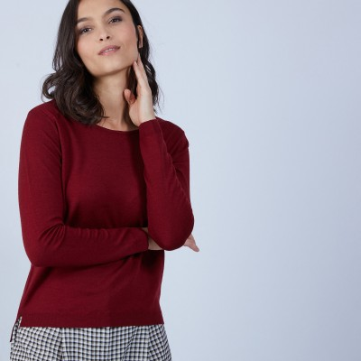 Round-neck slitted jumper in merino wool - Betina