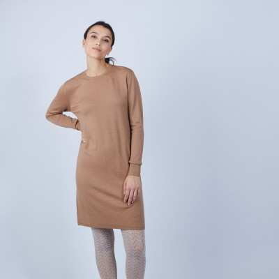 Round-neck dress in merino wool - Blanche