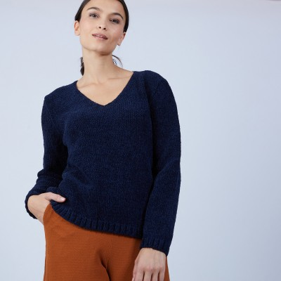 V-neck jumper in silk and wool velour - Bobby