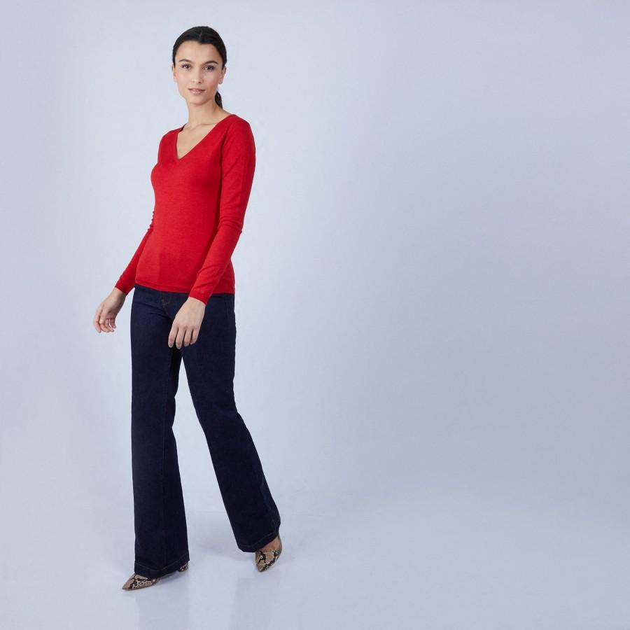 Pull col V en laine et soie - Bonnie 6681 rouge - 52 Rouge
