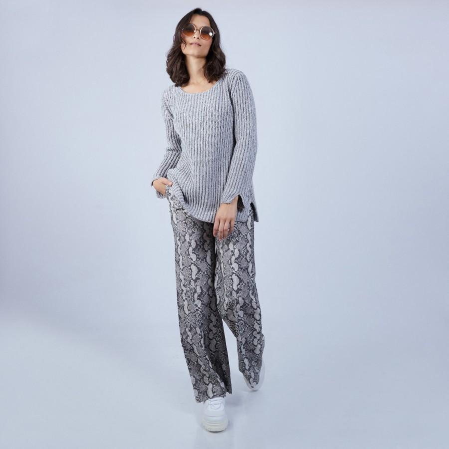 Pull avec fentes en soie laine velours - Bonno