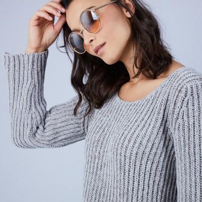 Pull avec fentes en soie et laine velours - Bonno