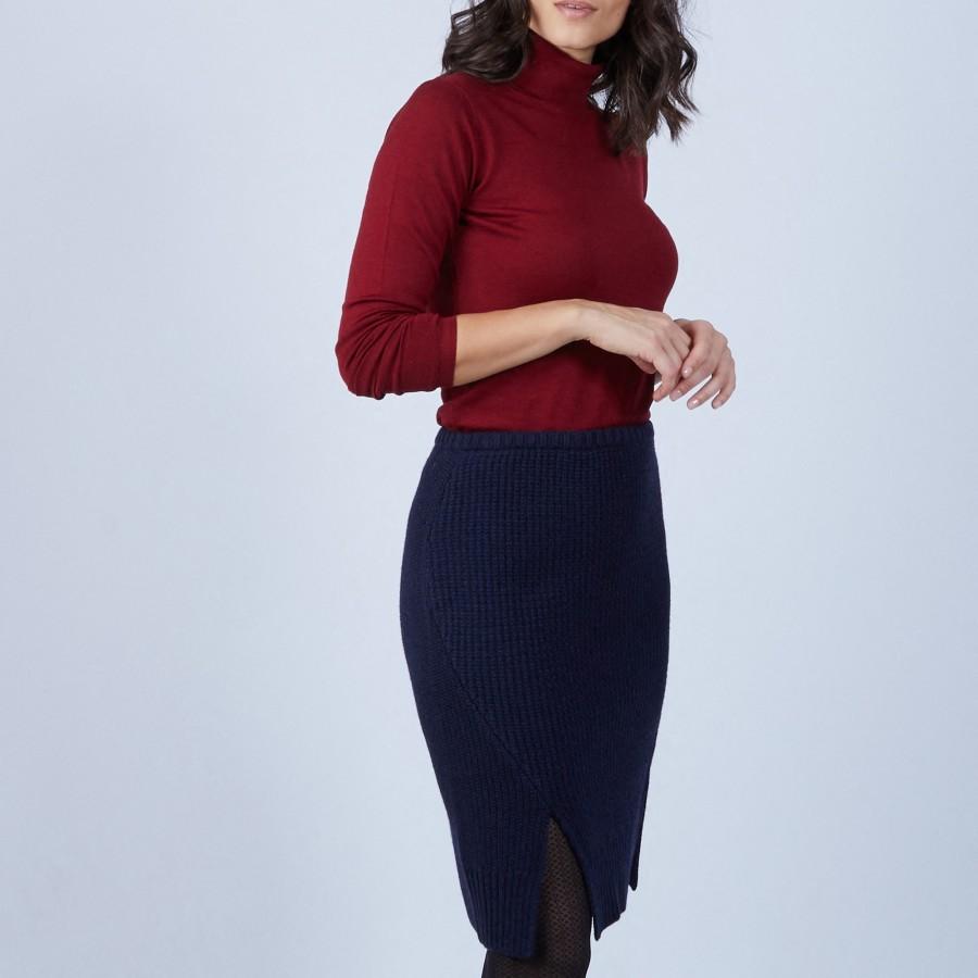 Jupe fendue devant en laine - Sophia