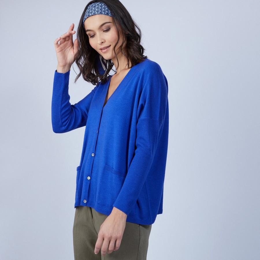 Gilet avec poches en laine mérinos - Bonte 6644 iris - 48 Bleu roi