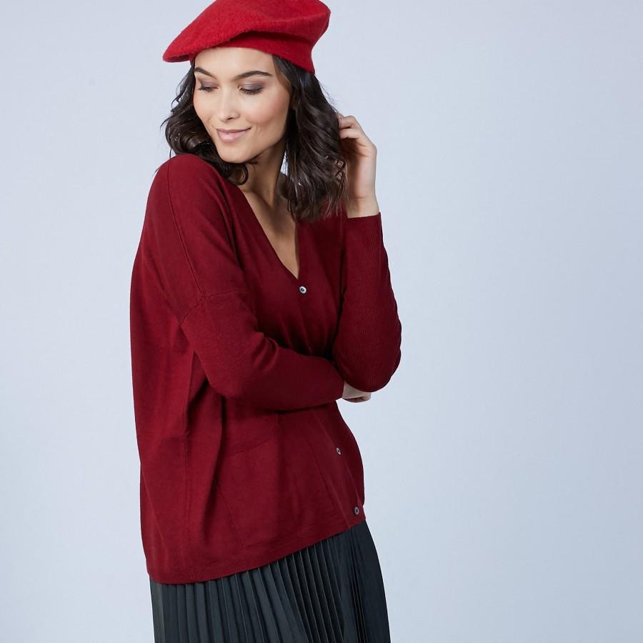 Gilet avec poches en laine mérinos - Bonte 6681 rouge - 51 Bordeaux