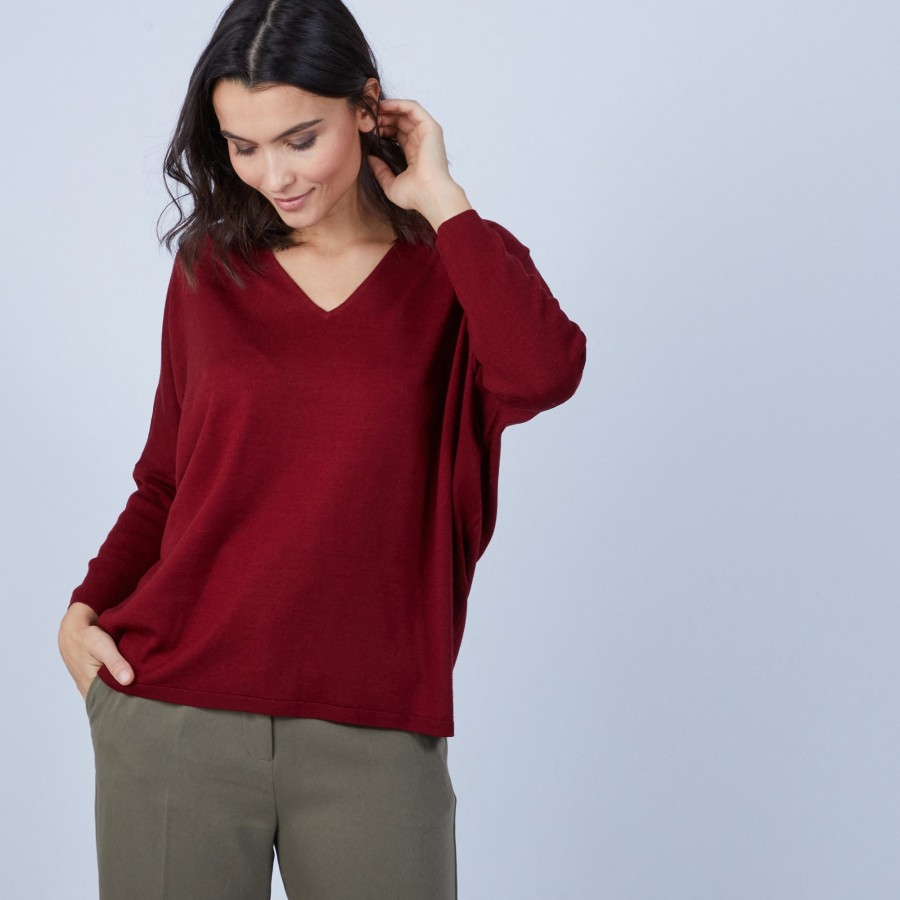 V-neck loose-fitting jumper in merino wool - Boxe
