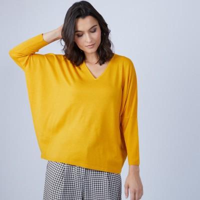 V-neck loose-fitting jumper in merino wool - Boxe