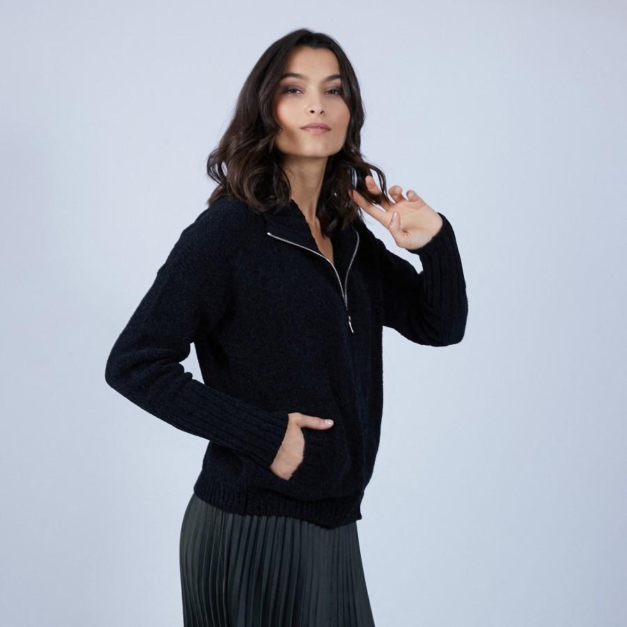 Gilet col montant en soie et laine velours - Bresil 6610 noir - 01 Noir
