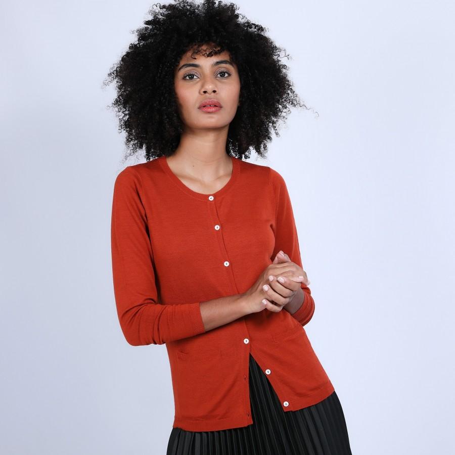 Gilet en laine mérinos - Belita 6682 tomette - 46 Marron clair