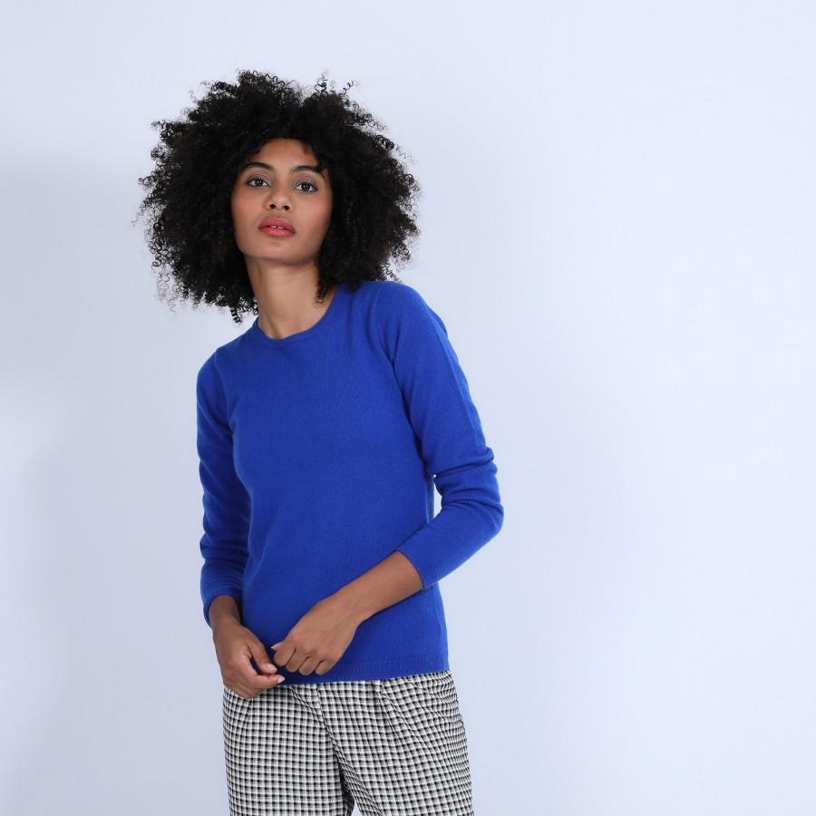Pull col rond en cachemire intemporel - Berline 6645 bleu dur - 48 Bleu roi