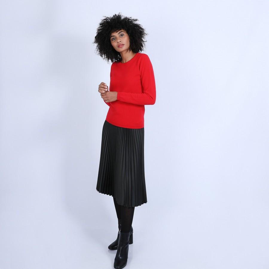 Pull col rond en cachemire intemporel - Berline 6680 ecarlate - 52 Rouge