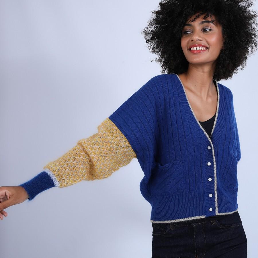 Gilet ample en laine & alpaga - Princesse 6709 multi iris - 48 Bleu roi
