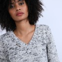 Pull col V chiné - Promesse 6738 gris - 11 Gris clair