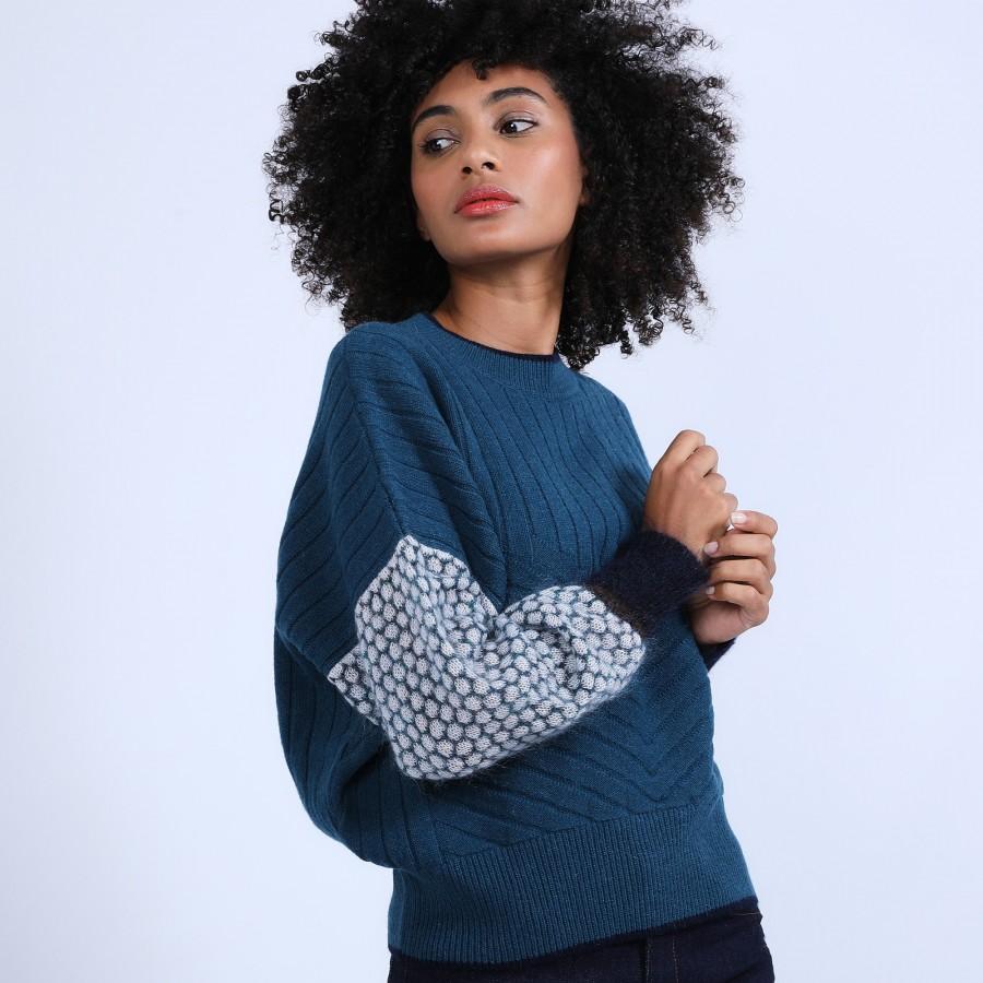 Pull ample en laine & alpaga - Prosper 6708 multico crique - 84 Bleu pétrole