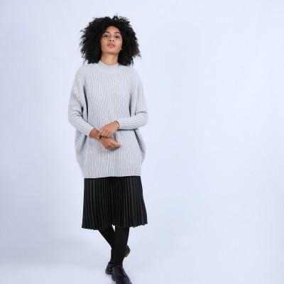Pull géométrique ample en laine & alpaga - Safir